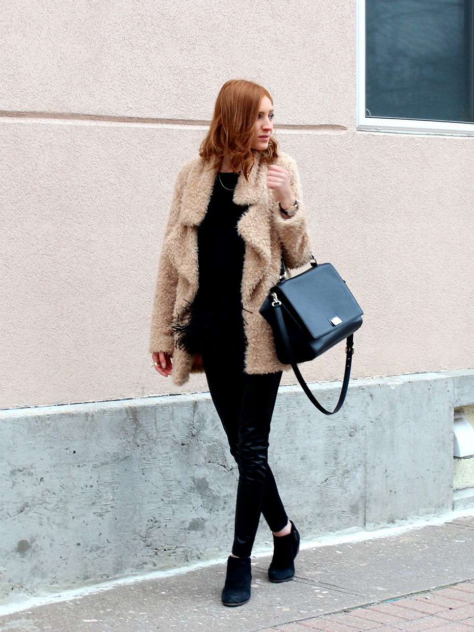 Blush Faux Fur Coat, Faux Leather Leggings, Fringe top- Winter Style