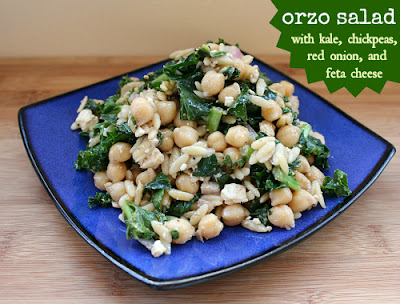 Love, Laurie: Orzo Salad with Kale, Chickpeas, Red Onion & Feta