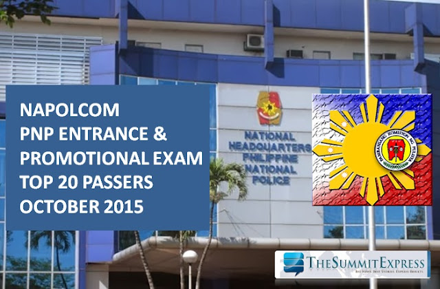 October 2015 NAPOLCOM exam Top 20 PNP Entrance, Promotional exam