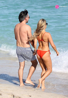 Sylvie Meis Super  fit  body in tiny red bikini WOW Beach Side  Pics Celebs.in Exclusive 005