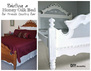 In Week 2 of the One Room Challenge, I painted my honey oak bed and gave it a beautiful French country feel for my Guest Room Retreat! | DIY beautify