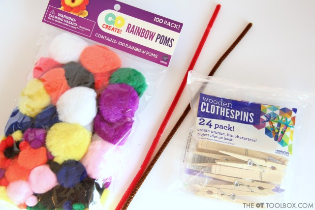 Craft supplies to make a snowman craft that builds fine motor skills for kids.