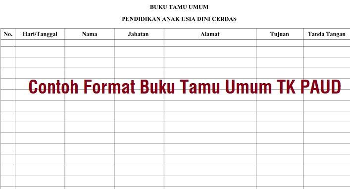 Contoh Format Buku Tamu Umum Tk Paud Administrasi Tk Paud