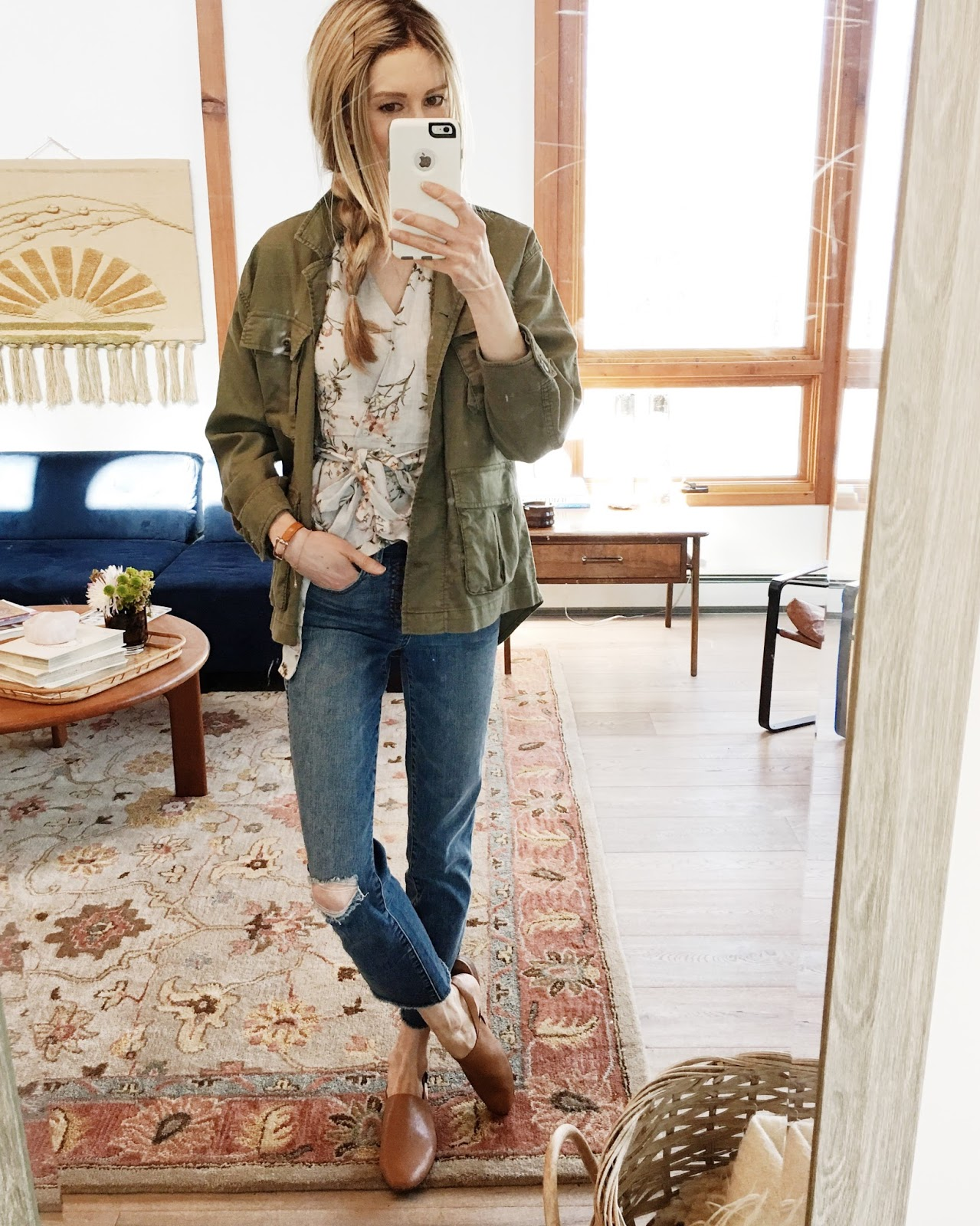 Blouse: Zara (here) // Jacket: The Great (here, runs big) // Jeans: J.Crew  (here, runs true to size) // Shoes: Madewell (similar here) // Bracelet:  Hermes ...