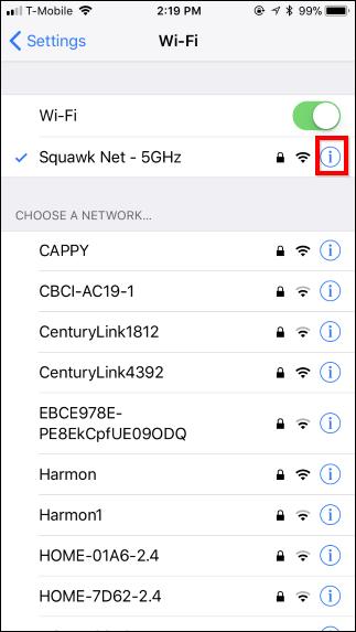 impedire la connessione del dispositivo iphone o ipad alla rete