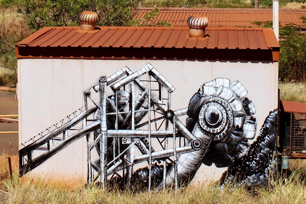 After a massive piece in Perth last week (covered), Phlegm is still in Australia where he just wrapped up this new piece in Port Hedland, the second largest town in the Pilbara region of Western Australia.