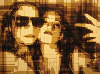 Arte con masking tape arte y reciclados-retratos