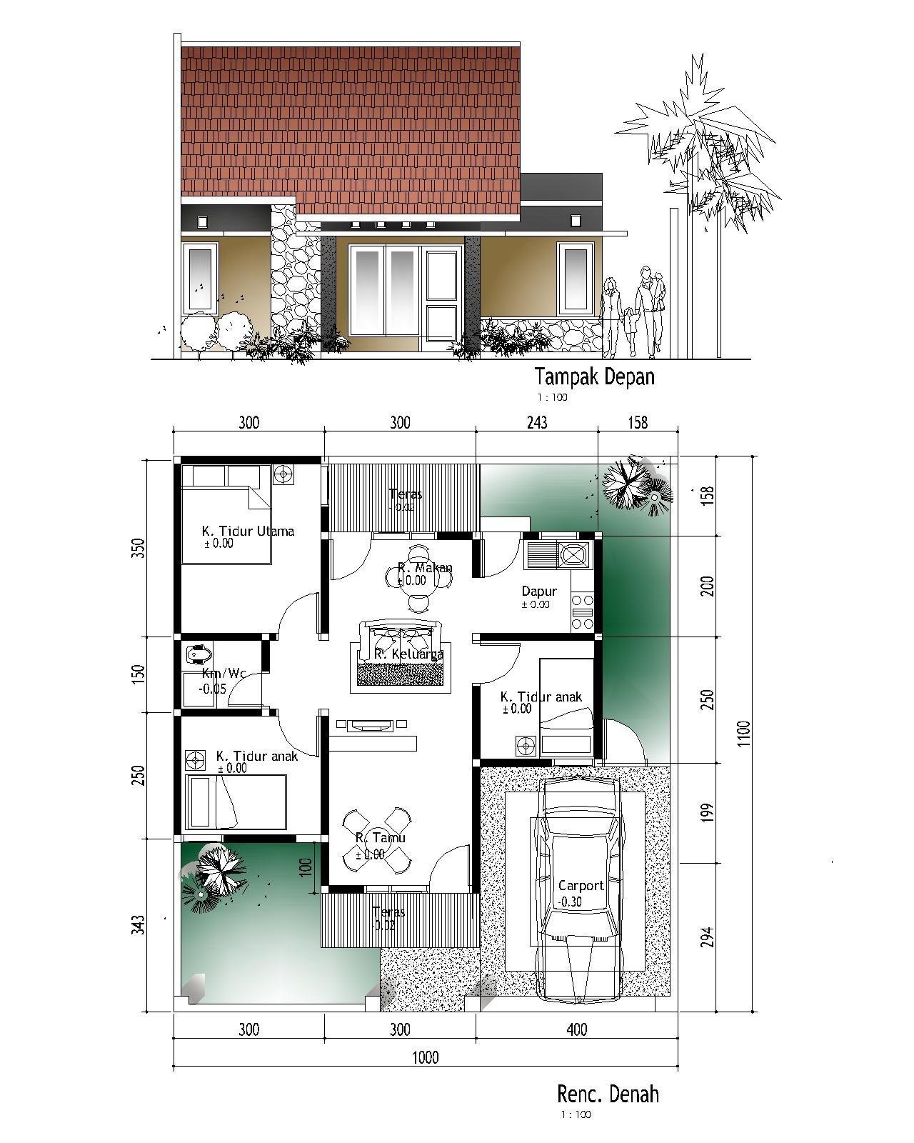 Rumah Minimalis 1 Lantai 3 Kamar Tidur Dan Garasi