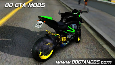 Z800 Green and Gold ImVehFt para GTA San Andreas, GTA SA
