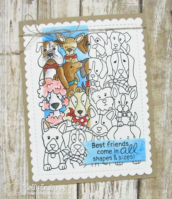 Best Friends Dog card by Holly Endress   Woof Pack Stamp Set and Frames & Flags die set by Newton's Nook Designs #newtonsnook