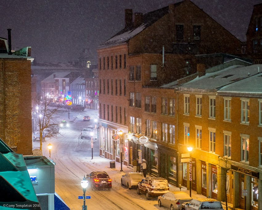 Snowy Fore Street in the Old Port of Portland, Maine. February 2016 photo by Corey Templeton.