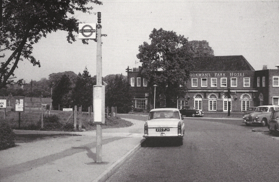 Photograph of the Brookmans Park Hotel. Opposition to the building of a beer house in 1936 led to the Hadley Brewery Company submitting new plans for an hotel in Brookmans Park. Building commenced in 1939, shown here in 1964. Merrilegs the pony lived in the field on the corner