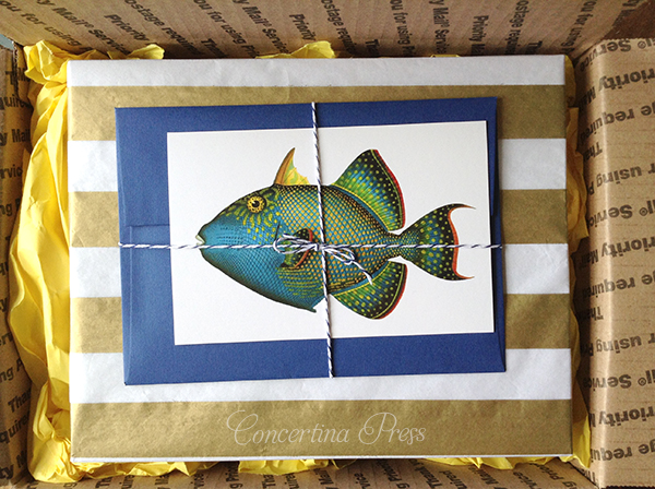 packaging with gold and white striped tissue paper and tropical fish postcard from Concertina Press