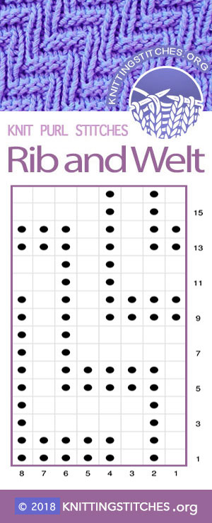 Rib & Welt Knit Purl Chart | Knitting Stitch Patterns