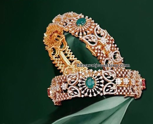 Diamond Emerald Bangles from Mangatrai