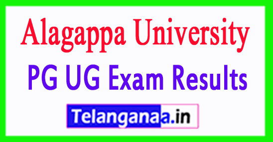 Alagappa University Results  UG PG Exam Results