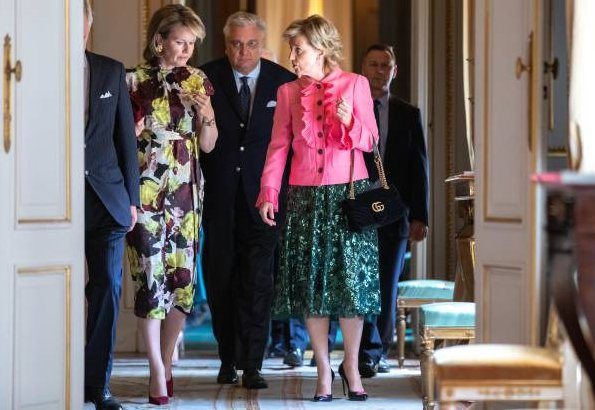 Queen Mathilde wore Erdem Finn dress bloomsbury yellow satin