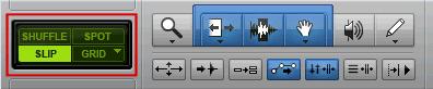 Pro Tools Edit Modes: Shuffle, Spot, Slip, and Grid.