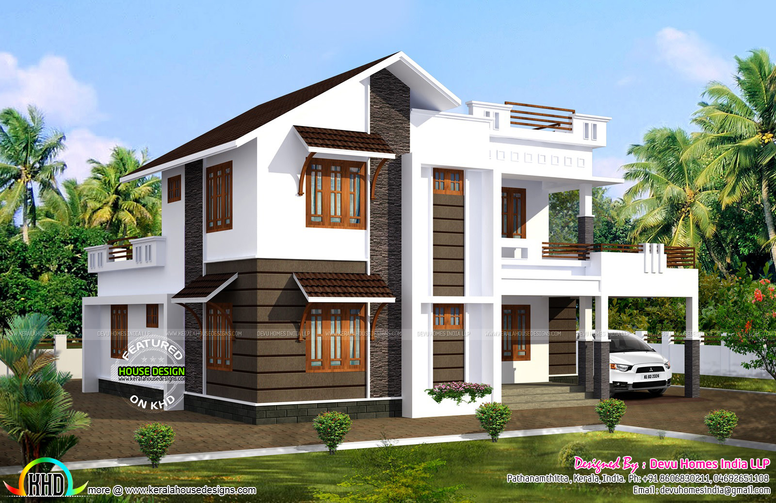 2100 sq ft south facing vastu house kerala home design for Contemporary model homes