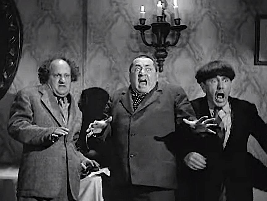 Three Stooges frightened, Larry Fine, Curly Howard and Moe Howard