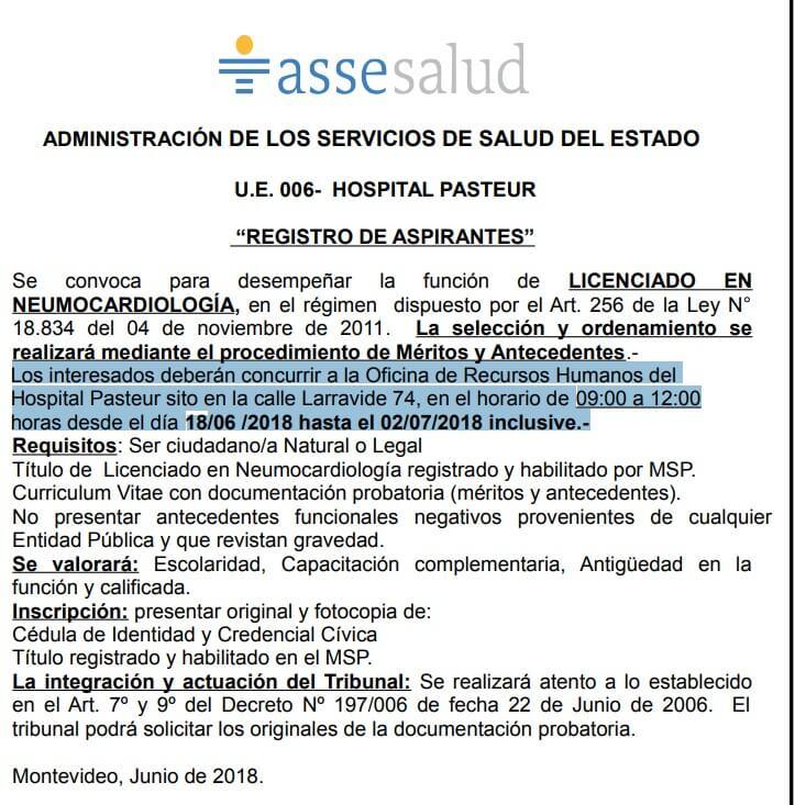 Llamados Licenciados en Neumocardiología Asse 2018