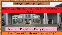 Indira Gandhi Medical College Recruitment 2017–Data Entry Operator