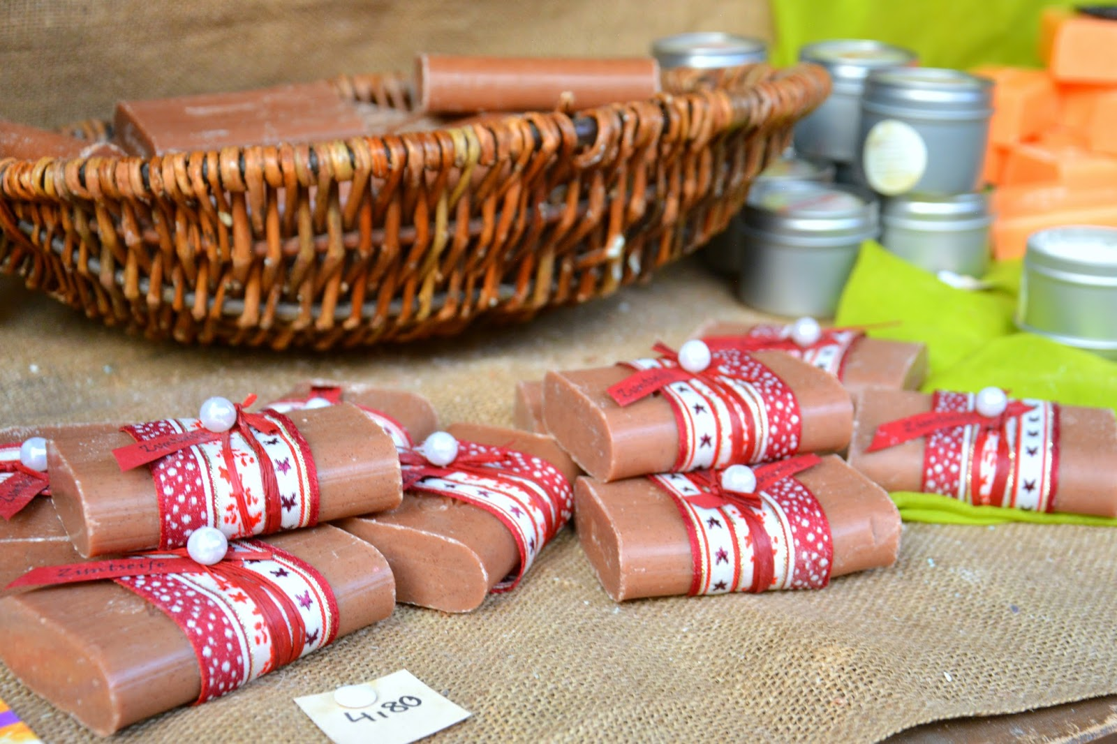 Handmade Cinnamon Soaps wrapped in white-and-red