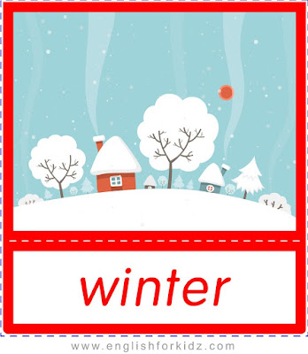 Winter - printable Christmas and winter season flashcards