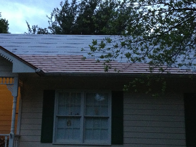 Already Part Of The New Interlock Aluminum Slate Roofing In Aged Copper  Being Installed Here.