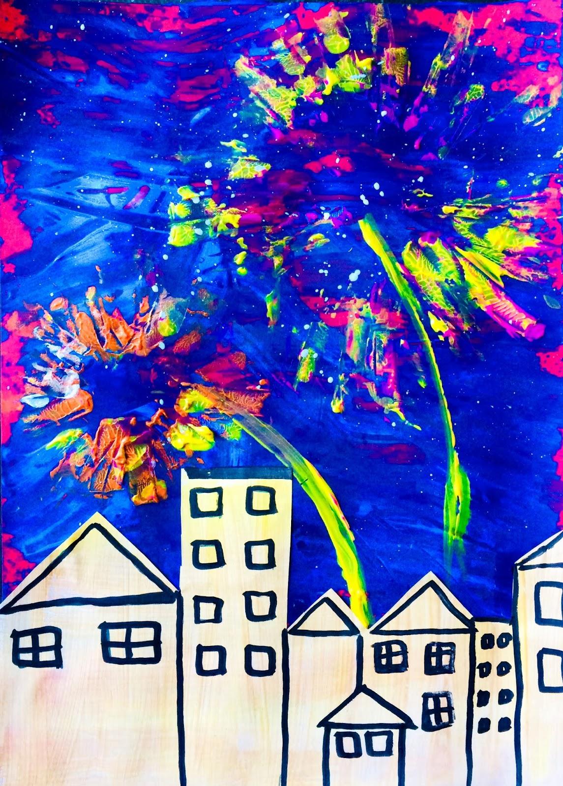 Foc de artificii peste oraș