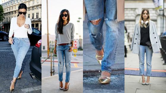 sapatos metalizados inverno com jeans