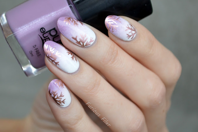purple gradient delicate metallic snowflakes freehand nails