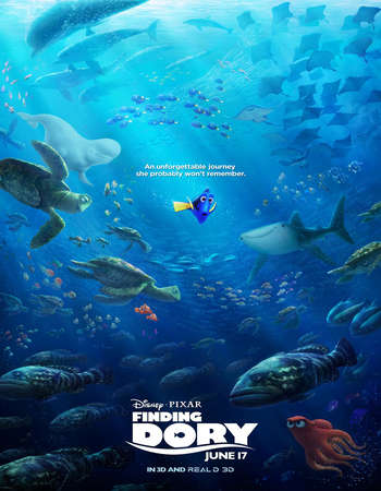 Poster Of Finding Dory 2016 Dual Audio 700MB HDTS [Hindi - English] Free Download Watch Online Worldfree4u