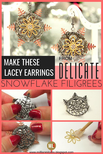 Mixed Metal Filigree Snowflake Earrings project sheet
