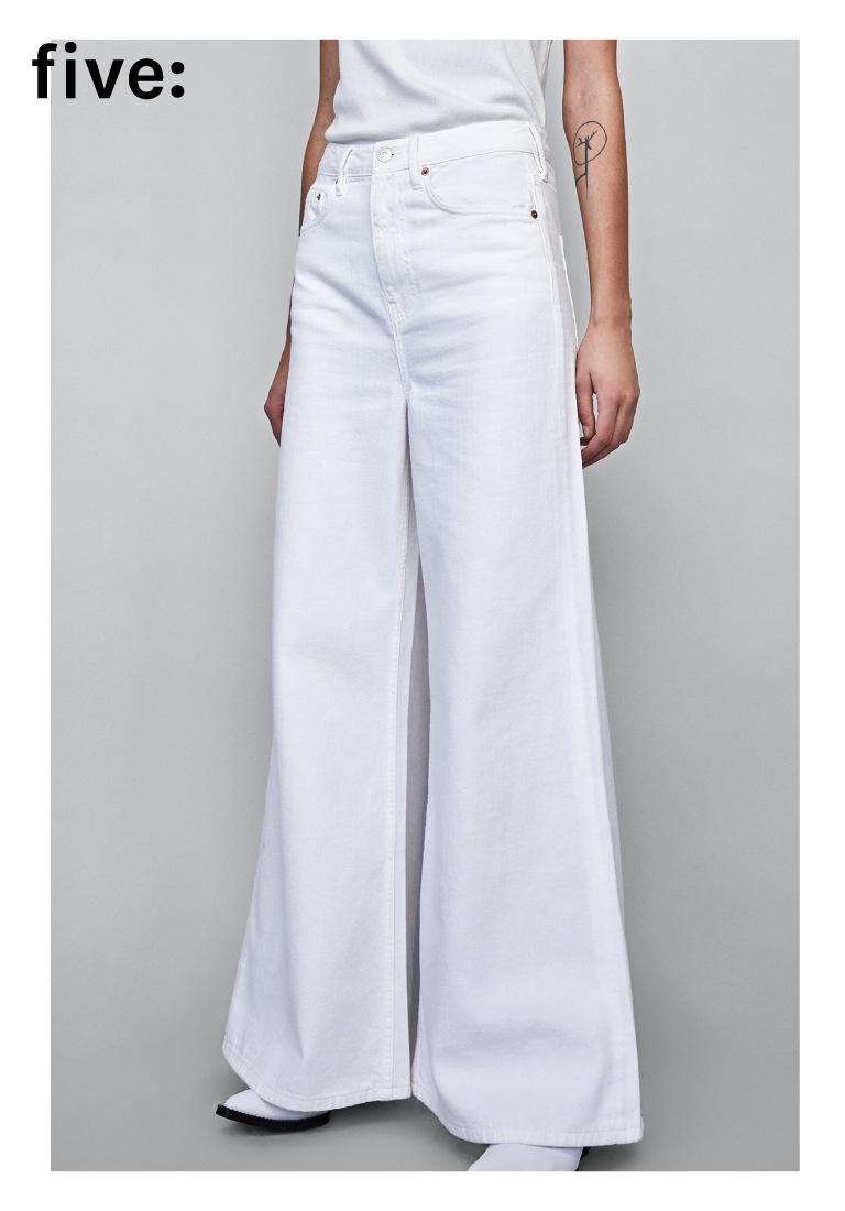 White Wide Leg Denim Jeans