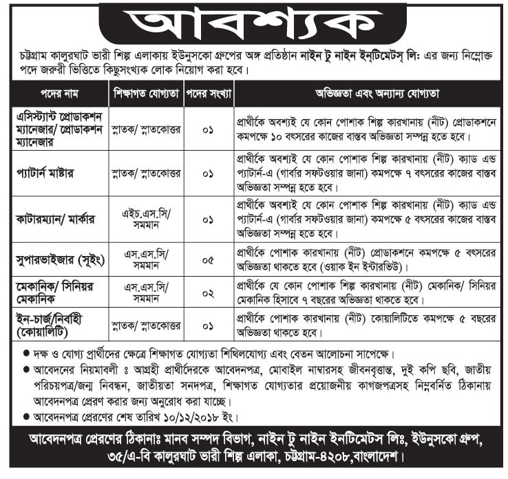 Younusco Group under Nine to Nine Instruments Limited Job Circular 2018