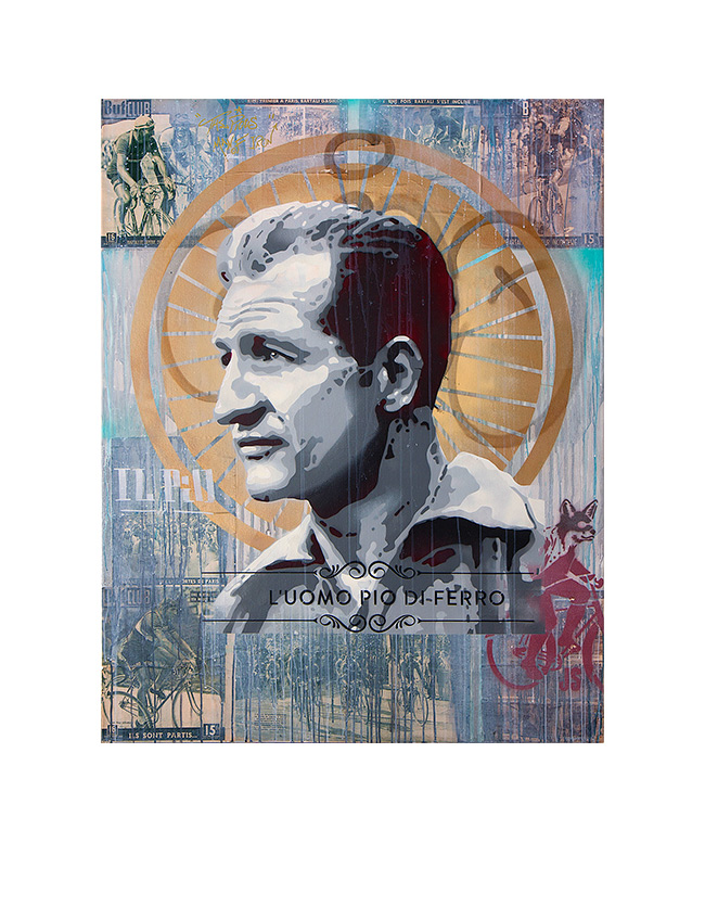 Gino Bartali - James Straffon cycling art When the Fox met The Rooster, Luxembourg