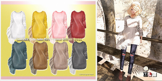 {amiable}Side-tulle Three-quarter Sleeves Dress@the Shiny Shabby(50%OFF SALE).