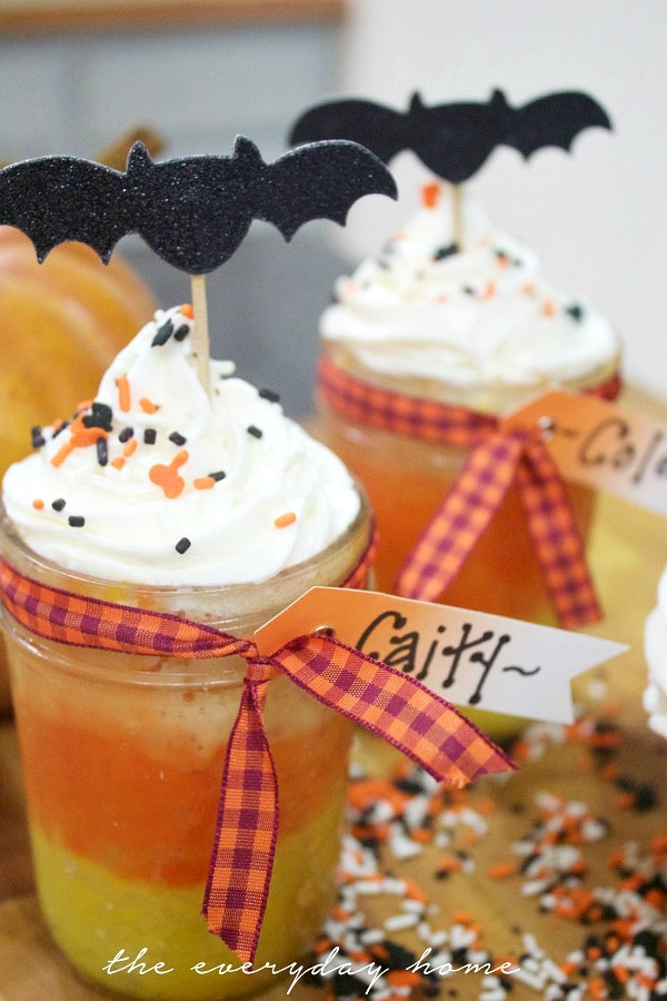 Candy Corn Cupcakes in a Jar from The Everyday Home Blog