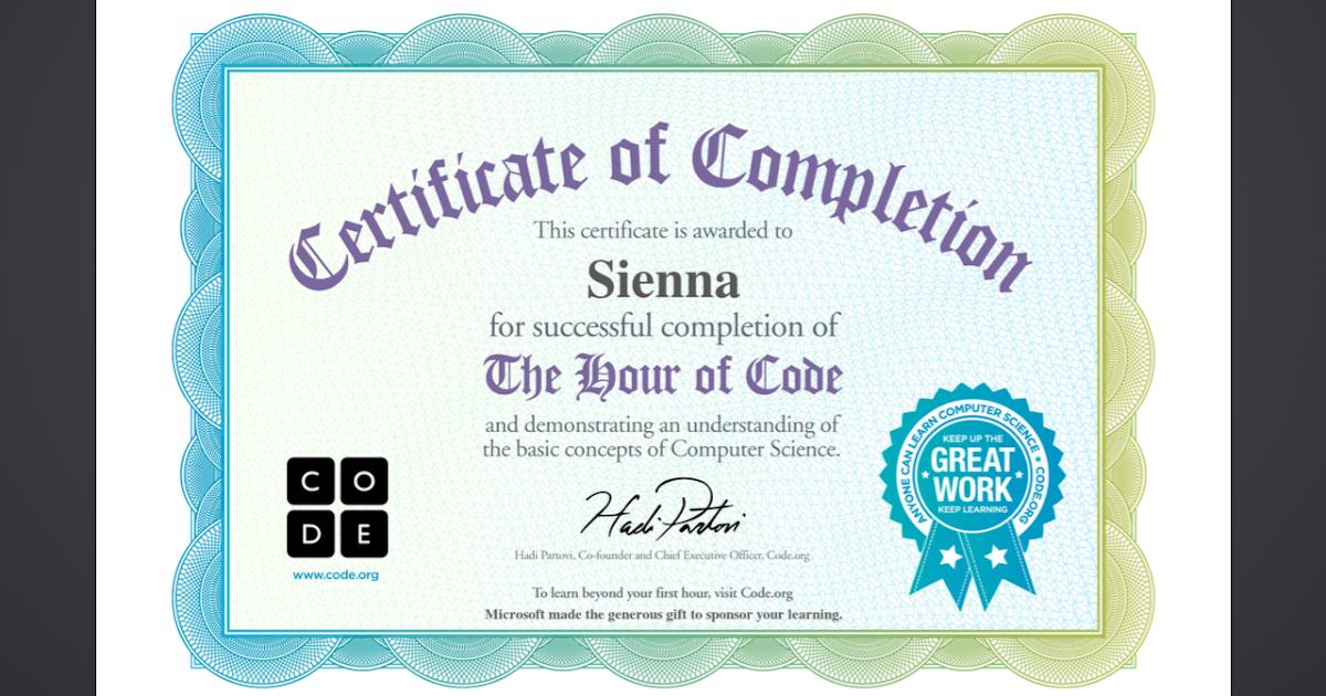 Sienna - Room 15 @ Opunake Primary: Hour of Code Certificate