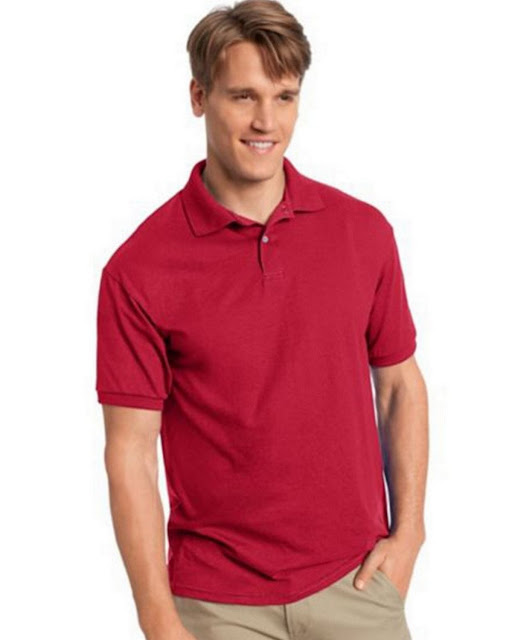 Hanes 054X Mens Comfortblend Jersey Polo - Deep Red – L