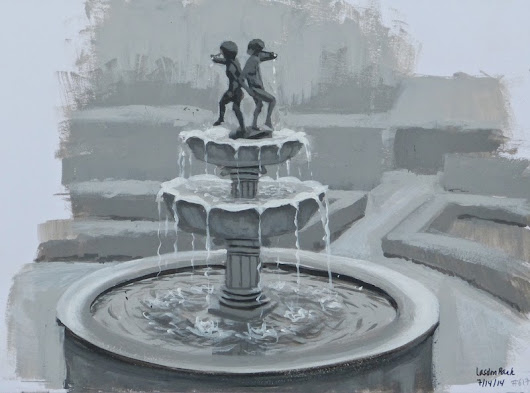 Johanne Morin's Art in the Making: Value study of a fountain (again)