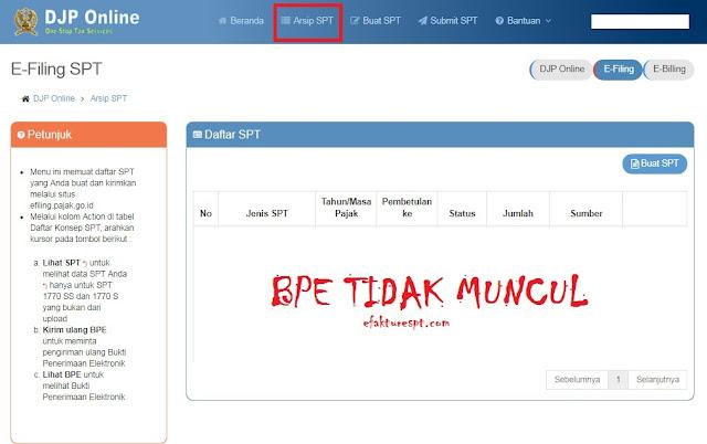 Tanda Terima (BPE) eFilling Pajak DJP Online Tidak Muncul