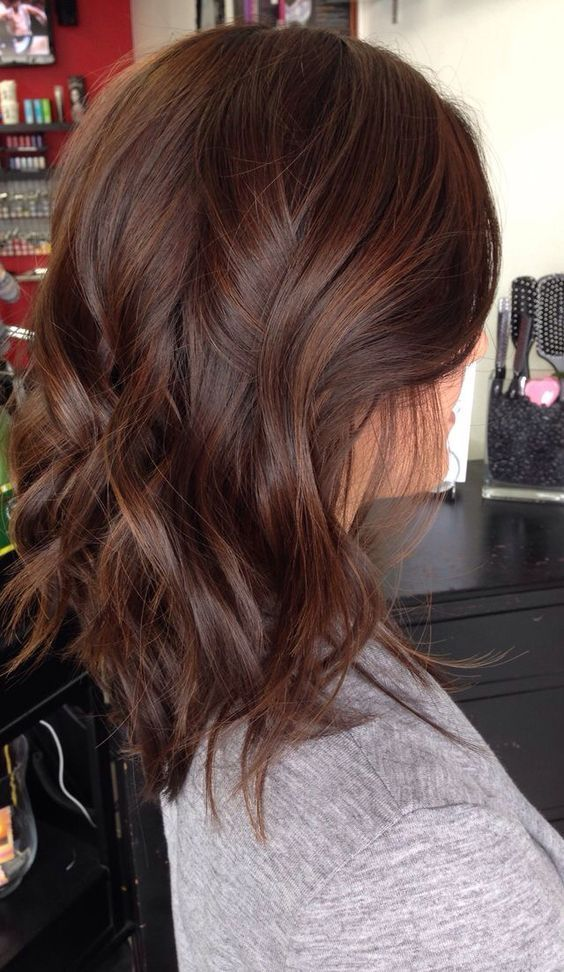 milk chocolate hair color with caramel highlights