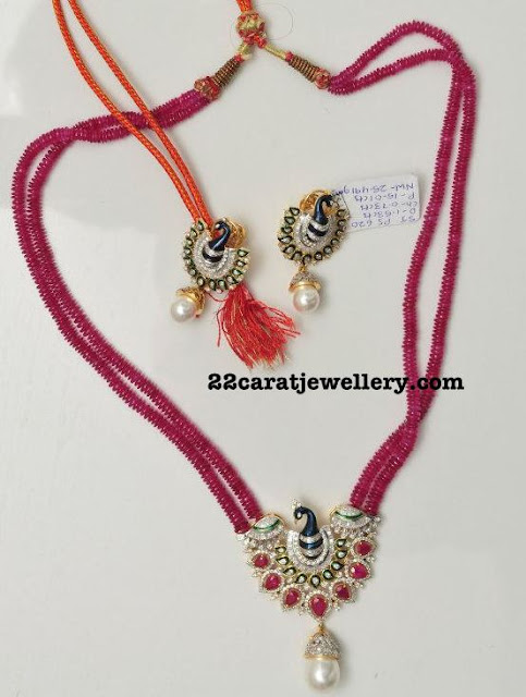 Ruby Beads Long Chain with Peacock
