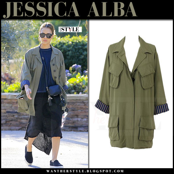 Jessica Alba in army green canvas jacket from smythe what she wore