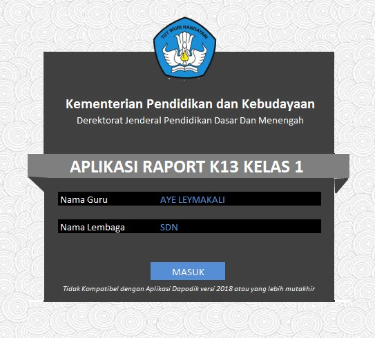 Aplikasi Raport Kurikulum 2013 (K 13) - Kurtilas SD Kelas 1, 2, 3, 4, 5, & 6 Edisi Revisi Terbaru Serupa Aplikasi Dapodik