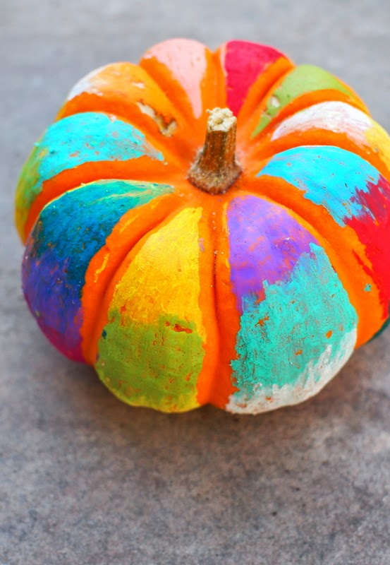 Colorful, No Carve Halloween Pumpkin Art