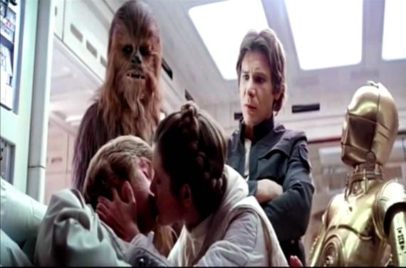 luke and leia kiss star wars empire strikes