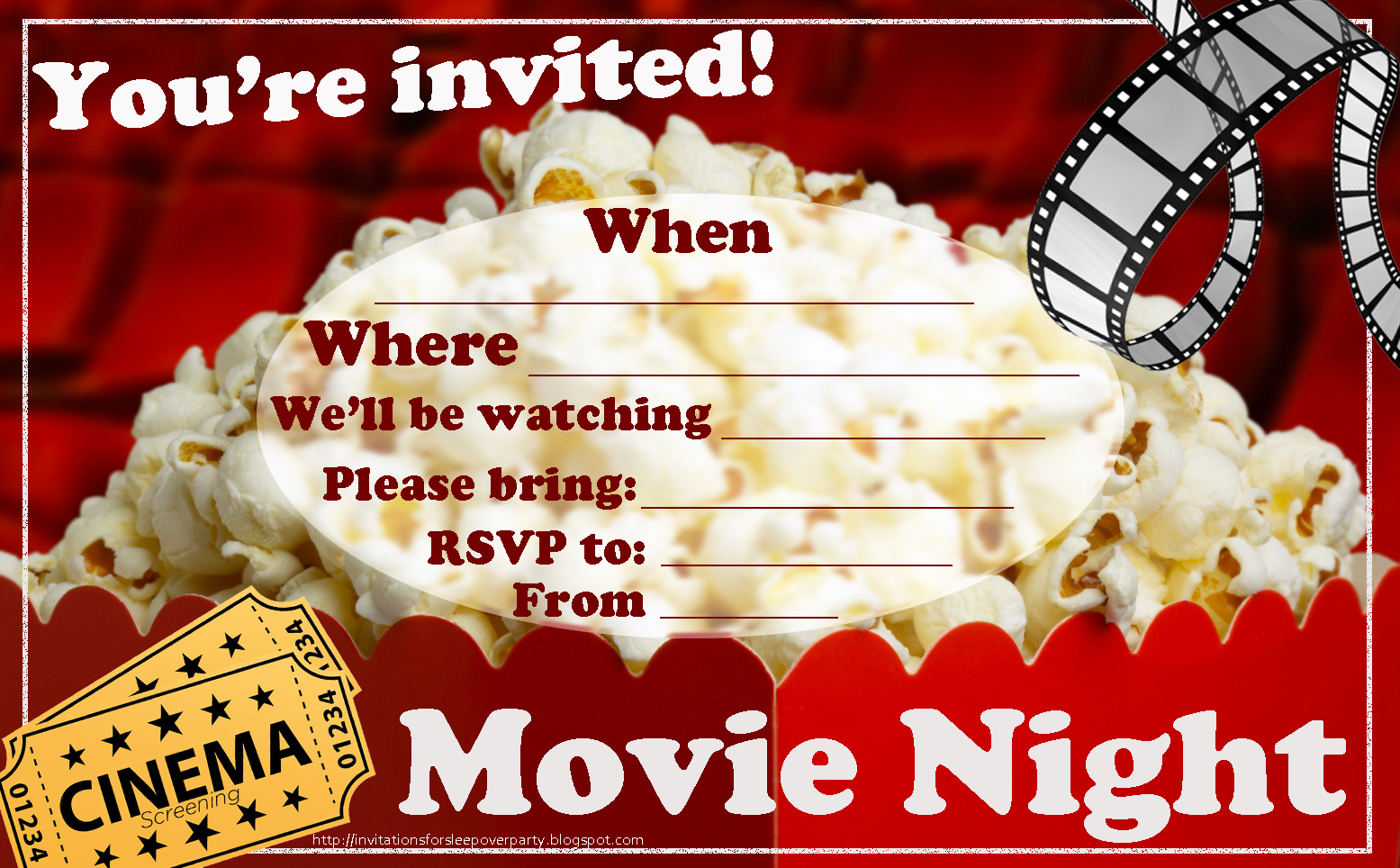 Comprehensive image with free printable movie party invitations